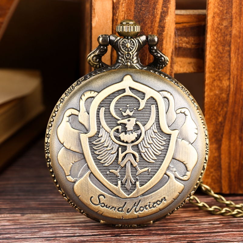 Awesome Polish Eagle Poland Symbol Bronze Design Quartz Pocket Watch Pendant Necklace Chain Collectibles For Men Women Kid Reloj