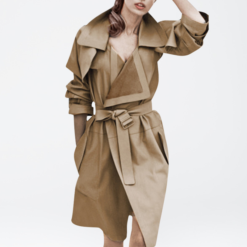 LANMREM 2019 Fashion New Irregular Sashes   Trench   Coat For Women Long Section Casual Trendy Autumn Windbreaker Clothes BE732