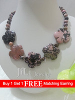Natural Stone Rhodonite 8mm beads& handmade carving flowers Necklace Approx 45cm/18inches