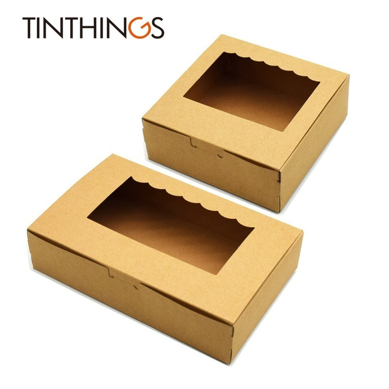 20PCS Kraft Paper Gift Box Brown Wedding Party Favors Handicrafts Cosmetics Box Window Cake Gift Packaging Box Candy Sweety