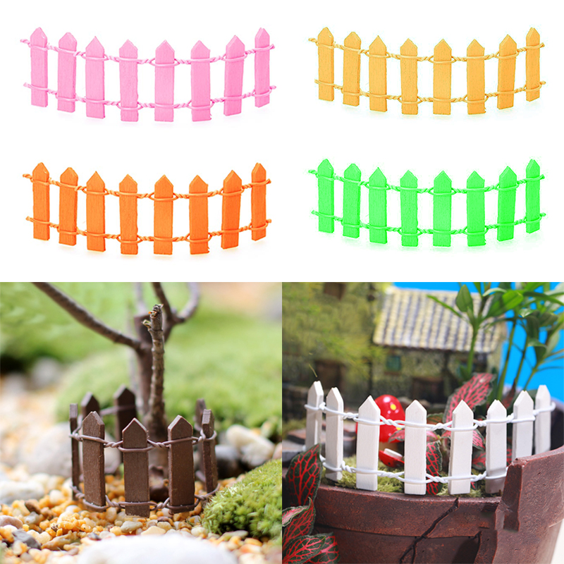 Miniatures  1PC New Mini Fence 10Colors Popular Cute Home Decoration Microlandschaft  Fleshiness For Garden Wooden Kawaii