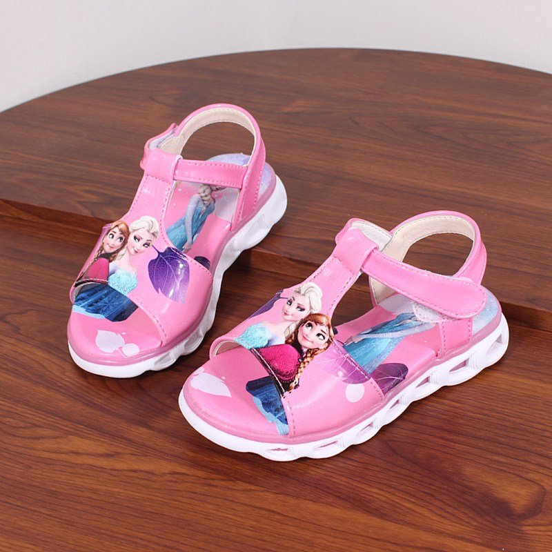 2018  Elsa Sandals Princess Elsa Anna Shoes Print Cartoon Summer Toddler Girl Beach Shoes Ice Snow Queen New Fashion Girl sandalSandals   -
