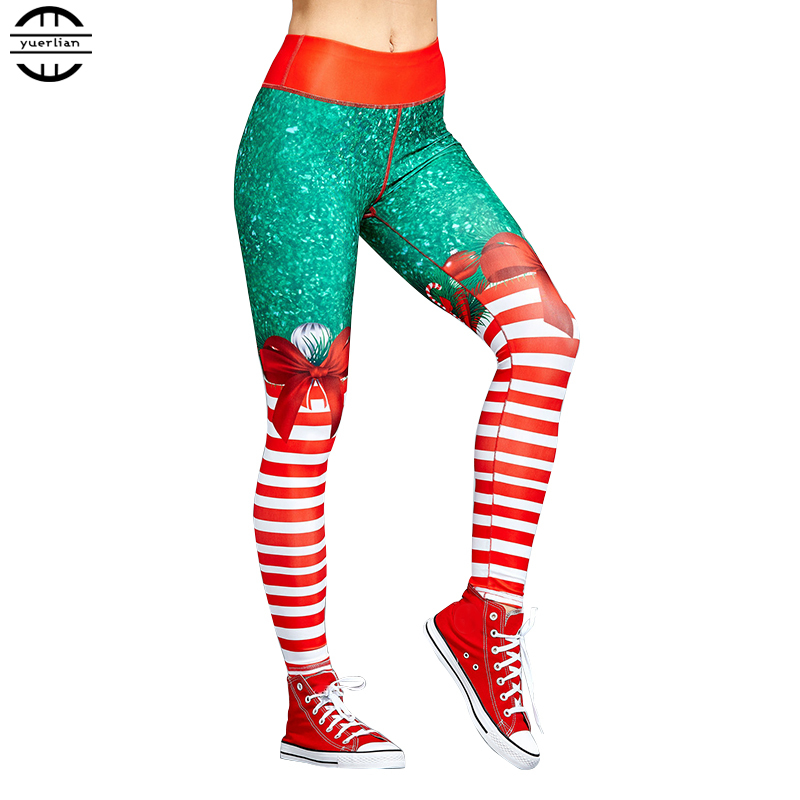 2019 New Long Women Sports Trousers Skinny Jogger Fitness Red Tight Stripe Running Pants Girls Gym Christmas Yoga Leggings