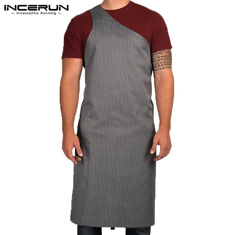 INCERUN Fashion Striped Men Apron Adjustable Restaurant Chef Waiter Kitchen Cooking Apron Pockets Men Women Aprons Plus Size