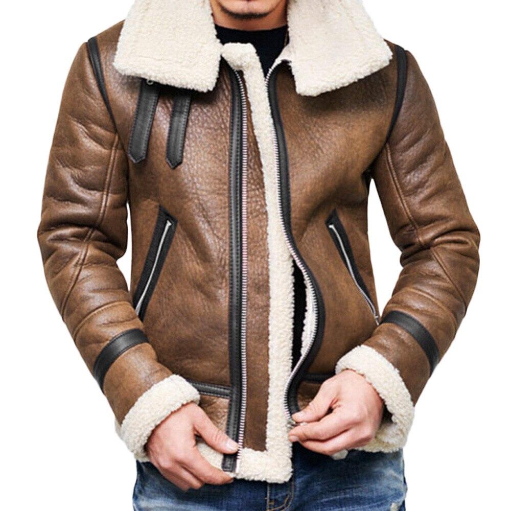 Rebicoo vestes hommes 2019 hommes manteau Streetwear Hip Hop chaud ours en peluche doublure revers en cuir vêtement d'extérieur à glissière manteau mâle veste