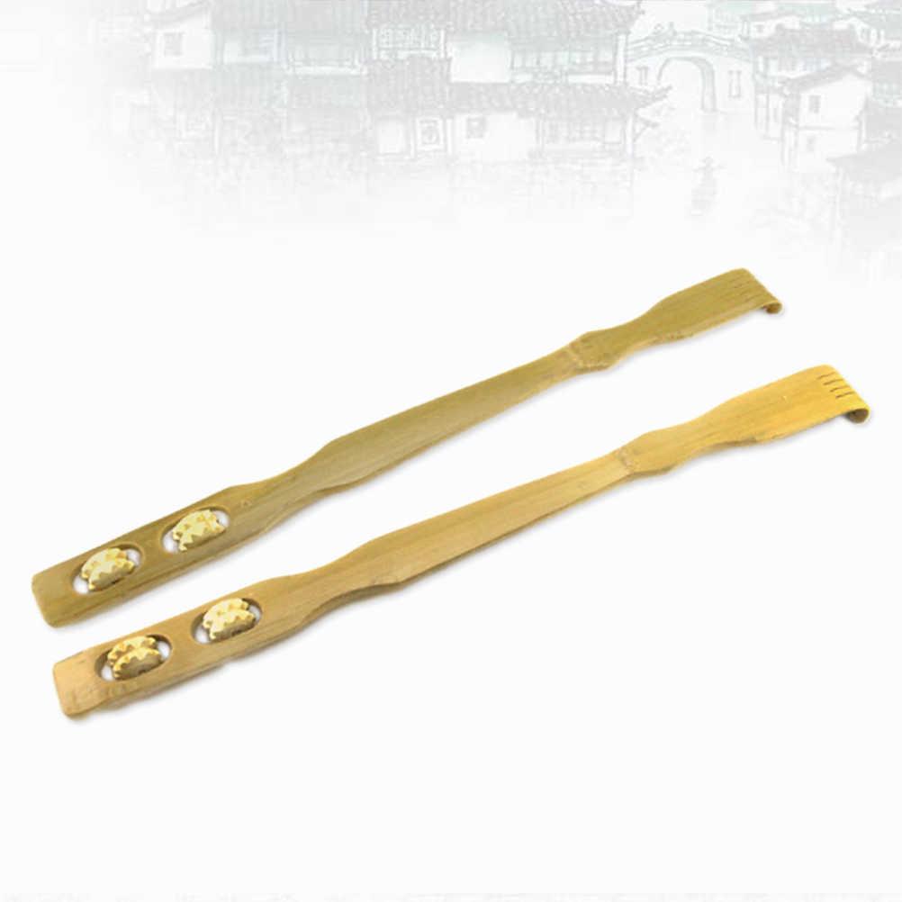 Rascadores de espalda de madera de bambú mano de cuello largo hombro de espalda con 2 rodillos de masaje para amigo familia Novel regalos mujeres embarazadas