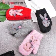BalleenShiny мультфильм перчатки из кролика зимние детские толстые теплые перчатки дети девочки милые Полные Пальцы кроличья шерсть варежки