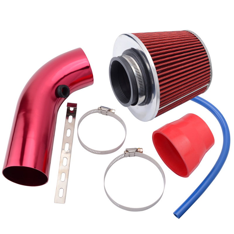 SPEEDWOW Alumimum 3.75mm Car Cold Air Intake System With Cone Air Filter 2
