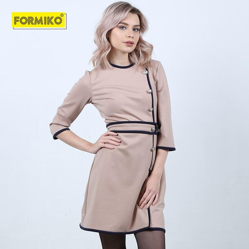 Formiko 2019 vintage élégant a-ligne robe bureau femme taille haute mi-manches en relief métal boucle robe kate middleton robe
