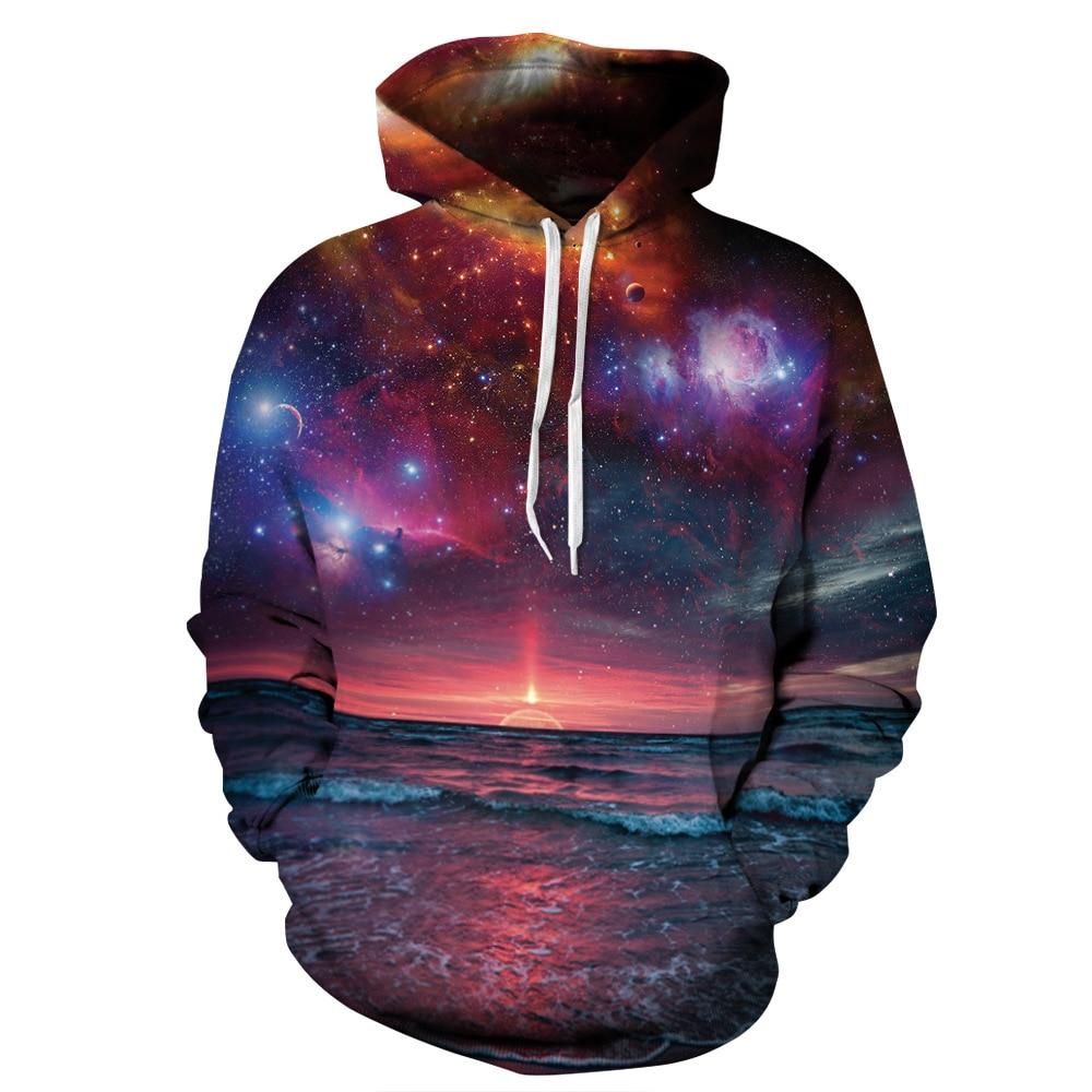 Sunset Horizon Sea Level Print Hoodies Men Hoodie with Hat Round Neck Loose Sweatshirt Pullover Sudaderas Para Hombre Streetwear