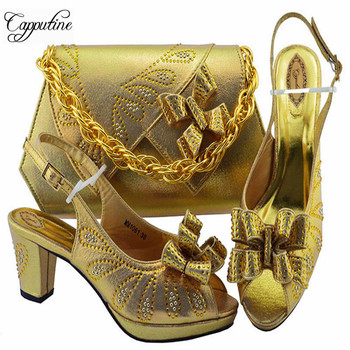 Capputine Latest Design Gold Color Shoe With Matching Bag Set African With Rhinestone Wedding Shoes And Bag Set For Party