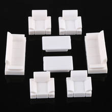 Decoration Sofa Set Plastic 1:50 Scale Dolls House Miniatures Furniture Toy Dolls Accessories(China)