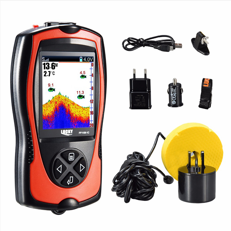 Lucky Fish Finder Echo Sounder Sonar For Fishing Fishfinder Portable Sonar  Fishing Finder FF1108-1CT  For Ice Boat