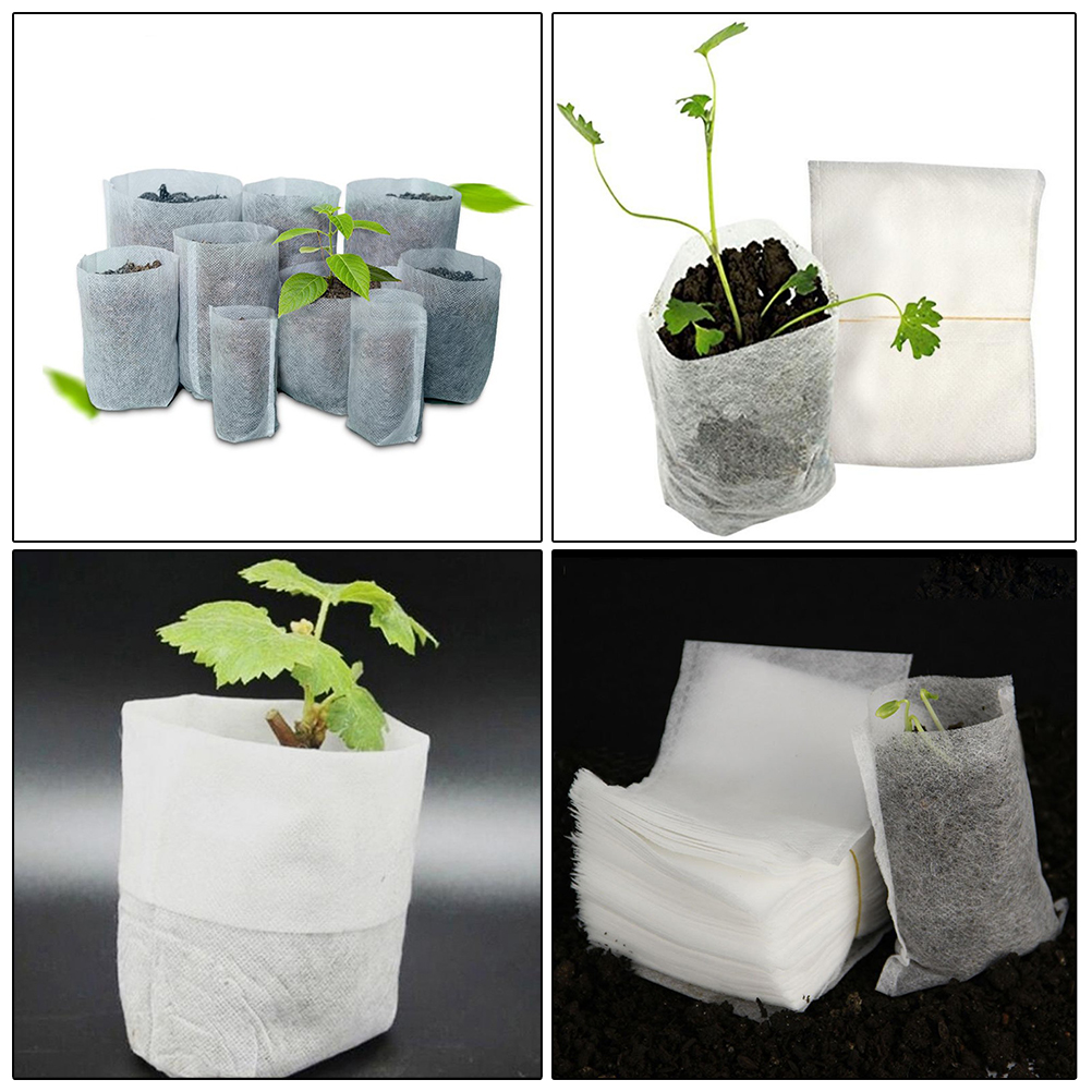 200 Pcs Grow Bags Non-woven Seedling Bags 8*10cm Plant Planting Nutrition Bags Aeration Planting Gardening Seedling Grow Kits
