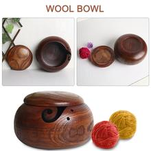 Original Ecology Portable Wooden Wool Bowl With Lid Dustproof Crochet Yarn Storage For Knitting