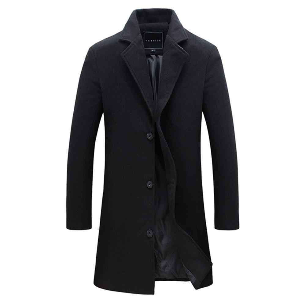 2019 Fashion Men's Wool Coat Winter Warm Solid Color Long Trench Jacket Male Single Breasted Business Casual Overcoat Parka