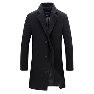 2019 Fashion Men's Wool Coat Winter Warm Solid Color Long Trench Jacket Male Single Breasted Business Casual Overcoat Parka(China)