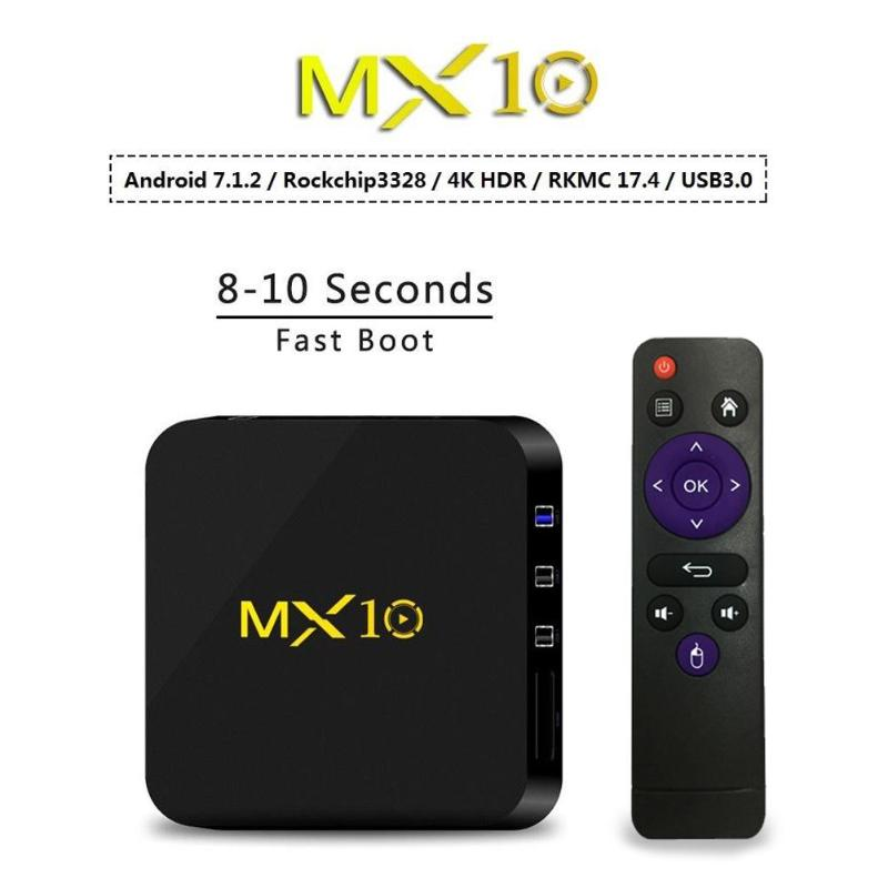 лучшая цена New MX10 Android 8.1 TV Box 4GB/32GB RK3328 Quad-Core 2.4G WiFi 100M LAN VP9 H.265 HDR10 4K USB 3.0 Smart Media Player