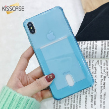 KISSCASE Card Slot Phone Case For iPhone 6 6s 5s SE 5 Clear Silicon Soft TPU XR 7 8 Plus X XS Max Bag