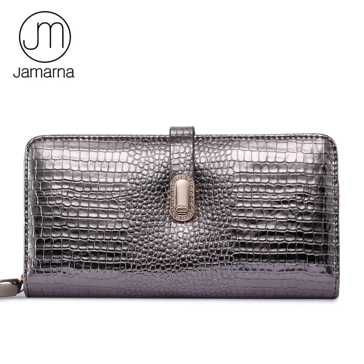 Jamarna Wallet Female Magnetic Buckle Wallet Female Genuine Leather Crocodile Pattern Long Clutch Women Purse Card Holder Mobile