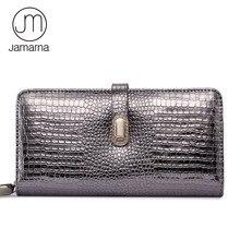 Jamarna portefeuille femme magnétique boucle portefeuille femme en cuir véritable Crocodile motif longue pochette femmes sac à main porte carte Mobile