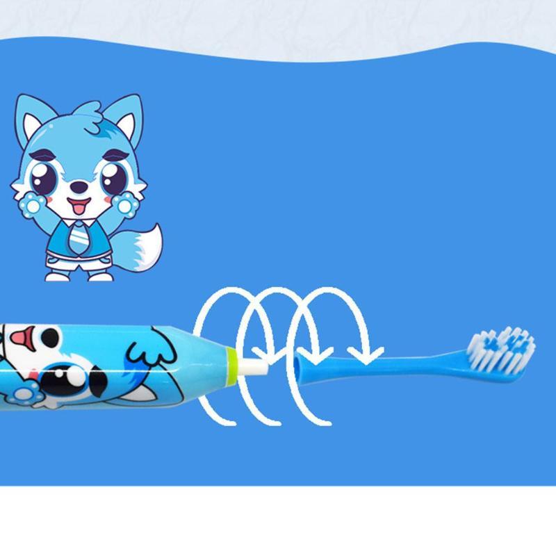 Купить с кэшбэком Toothbrush Cartoon Pattern Children Automatic Toothbrush Ultrasonic Waterproof Tooth Brush with 2 Brush Heads