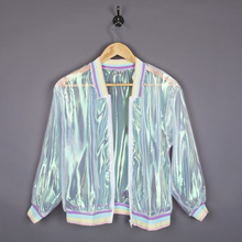 Women Coat Iridescent Transparent Jacket Holographic Rainbow Bomber Fashion New