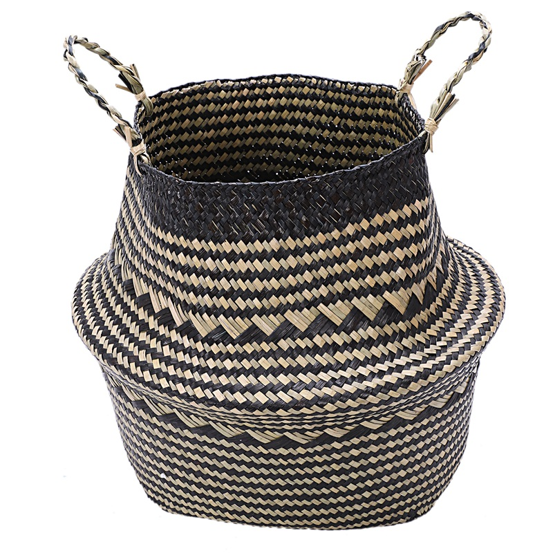 Foldable Seagrass Woven Storage Baskets Wicker Rattan Basket Home Decoration Garden Flower Vase Hanging Baskets