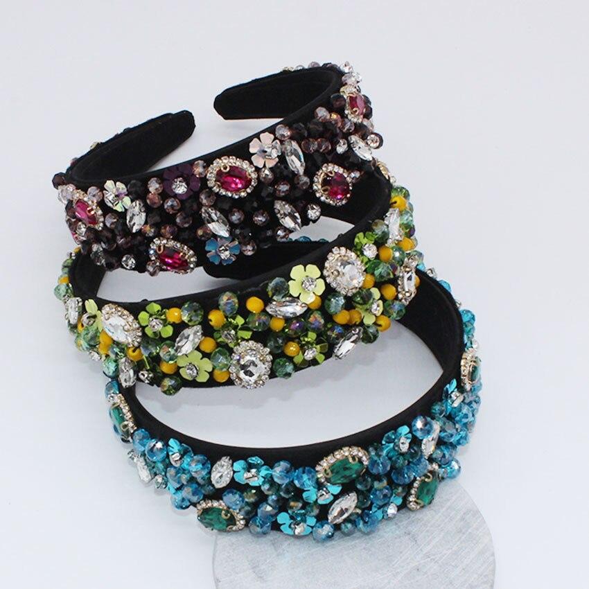 Jewel Haarband Diamanten Barock Hochzeit Braut Jeweled Stirnband Strass Haar Zubehör Vintage Breite Luxus Party Frauen 2019