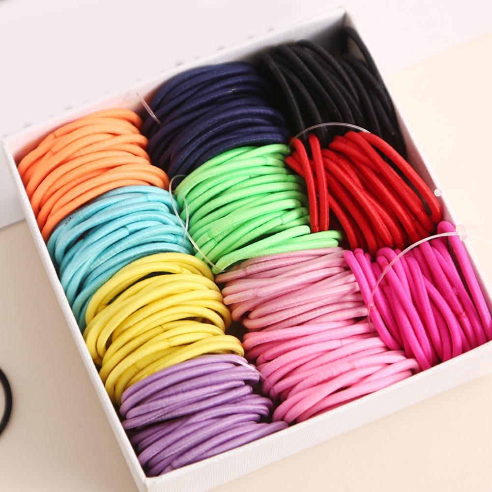 100 шт. 3 см Детские эластичные резинки для волос конский хвост держатель для волос тонкие эластичные резиновые красочные галстуки эластичные резинки для волос для девочек цельное кольцо