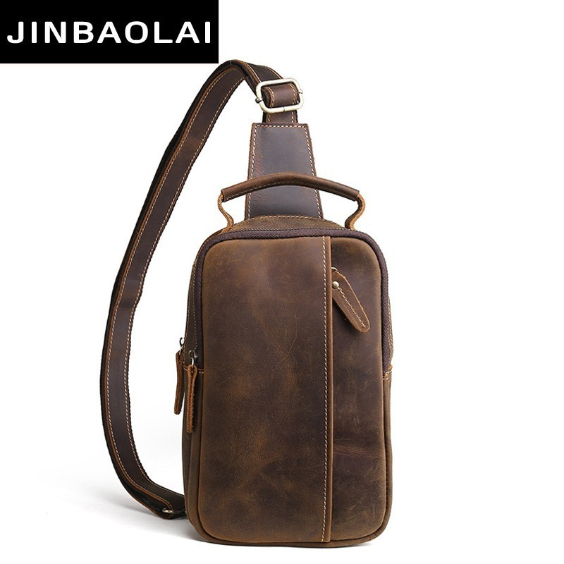 Vintage Crazy Horse Leather Men Messenger Bag Hot Sale Male Small Man Fashion Crossbody Shoulder Bags