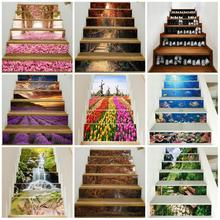 6PCS 3D Landscape Stair Stickers DIY Steps Wall Decals Mural Waterproof Removable Wallpaper Vinyl Home Creative Decor Stickers firework pattern removable stair stickers