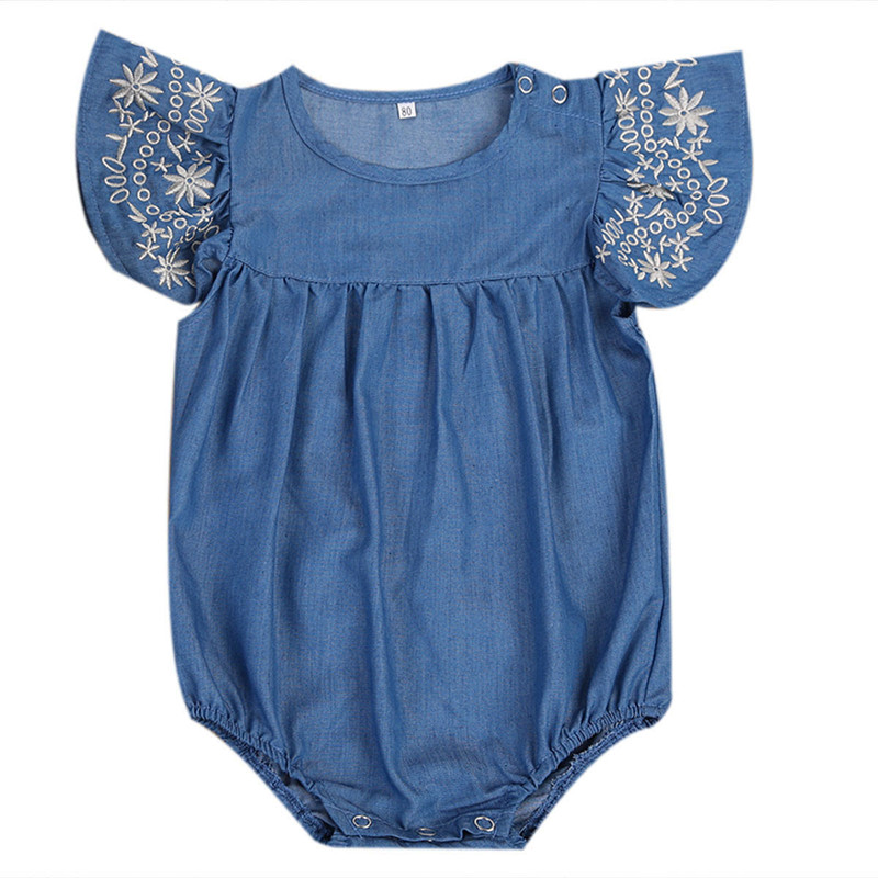 Cute Toddler Kids Baby Girls Infant Clothes Denim   Romper   Jumpsuit Outfit Girls Short Ruffle Floral Sleeve Clothing Sunsuit