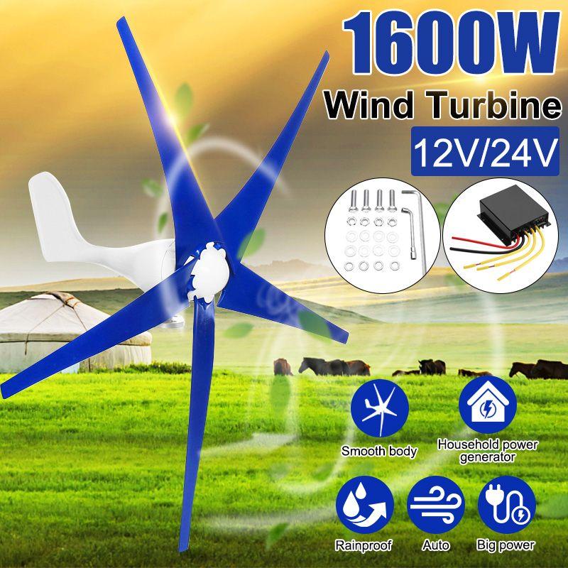 1600W Gerador de Vento para a Turbina 3/5 12/24V Pás Eólicas OptionWind Controlador Fit Presente para Casa + saco de acessórios de montagem