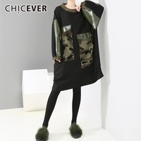 CHICEVER Winter Patchwork Camouflage Dress For Women O Neck Batwing Sleeve Oversize Black Dresses Fashion Streetwear Tide