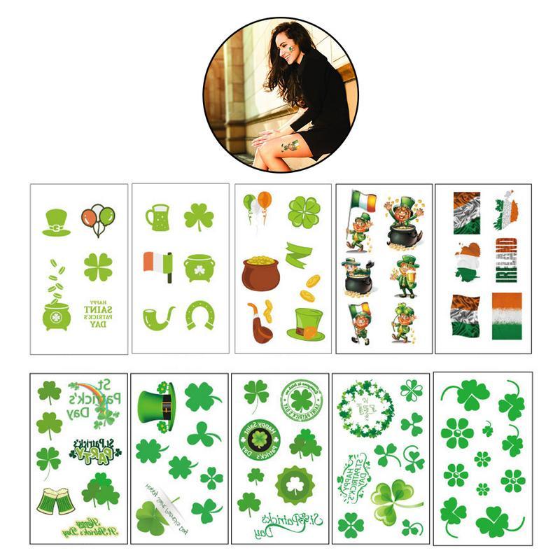 Beducht Top Selling Elegant Banket Klaver St. Patrick's Day Klaver Tattoo Sticker Waterdicht Veilig Niet Giftig Gezicht Sticker