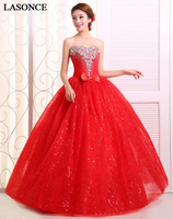 LASONCE Crystal Strapless Red Bow Lace Ball Gown Wedding Dresses Off The Shoulder Sequined Backless Bridal Gowns