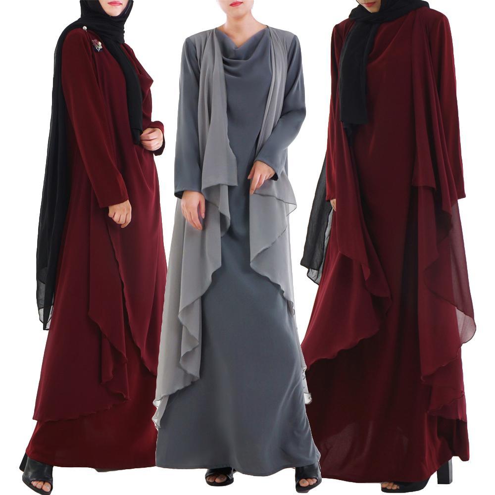 Muslim Women Abaya Maxi Robe Arab Jilbab Long Dress Middle East Gown Casual Fashion Loose Ethnic
