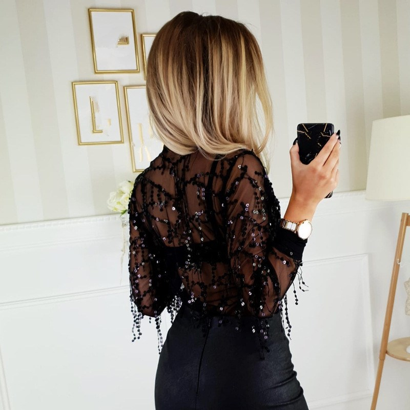 Women V neck Sequins Tassel Chiffon Shirt 2019 Spring Summer Long Sleeve Sexy Blouses Casual ShinningTransparent Tops in Blouses amp Shirts from Women 39 s Clothing