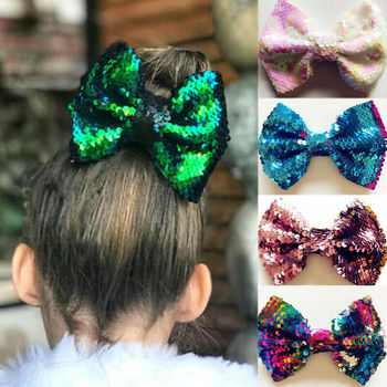10 Colors Cute Baby Rainbow Hair Bow Sequins Ribbon Hairgrips Clips Barrette Headwear Bowknot Children Girls Hair Accessories