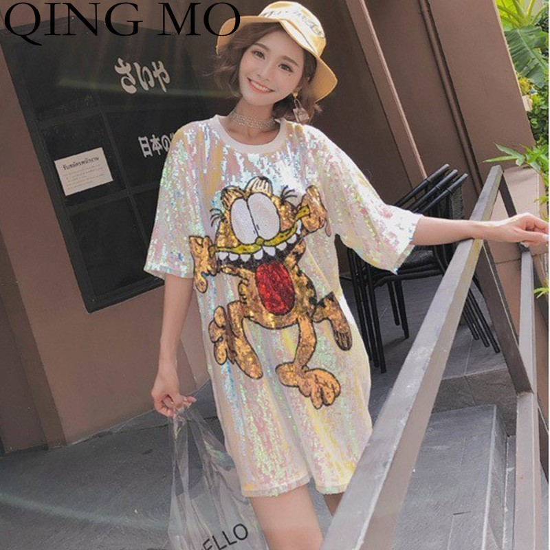 Frauen Kleidung & Zubehör Qing Mo Cartoon Muster Hemd Kleid 2019 Frauen Sommer Kurzarm Pailletten Kleid Femme Rosa Tier Frosch Kleid Ad1325a