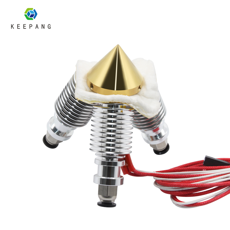 Kee Pang Brass Diamond Extruder Reprap Hotend 3D V6 Heatsink 3 IN 1 OUT Multi Nozzle Extruder 3D Printer Kit For 1.75/0.4mm