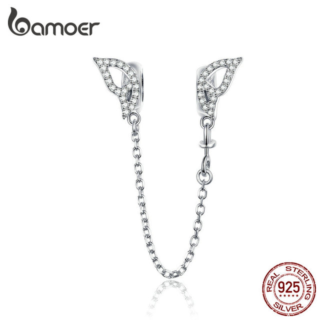 BAMOER Wings Safety Chain Silver 925 Long Metal Charms compatible for Original Snake Silver Brand Bracelet Fine Jewelry BSC083