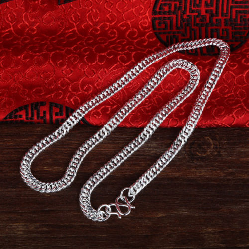 Pure 999 Sterling Silver Necklace Men 5.6mmW Curb Chain 24inchPure 999 Sterling Silver Necklace Men 5.6mmW Curb Chain 24inch