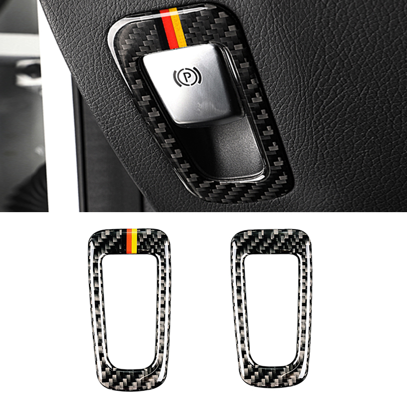 Image 2 - For Mercedes Benz C Class W205 C180 C200 C300 GLC260 Carbon Fiber Car Electronic Hand Brake P Button Frame Cover-in Interior Mouldings from Automobiles & Motorcycles