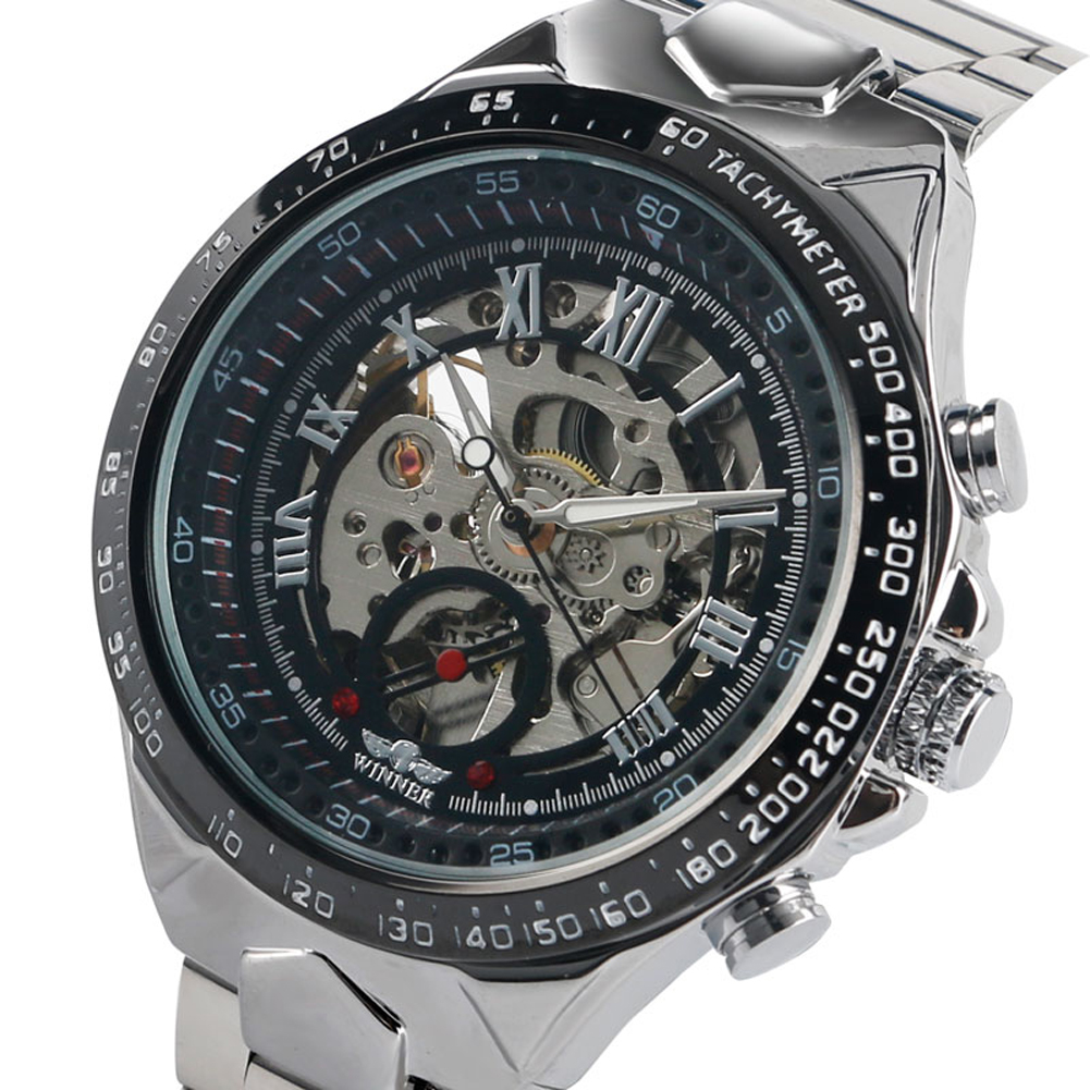 Business Automatic-self-winding Mechanical Watches for Men Stainless Steel Silver Band Watch for Teenagers Casual Skeleton WatchBusiness Automatic-self-winding Mechanical Watches for Men Stainless Steel Silver Band Watch for Teenagers Casual Skeleton Watch