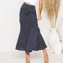 ef3a78c0790497 Elegante Vintage Polka Dot Satijn Vrouwen Rokken Mermaid Verstoorde Hoge  Taille Trompet Casual Slim Lange Maxi
