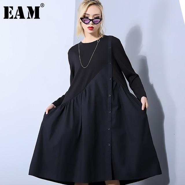 [EAM] 2019 New Spring Summer Round Neck Long Sleeve Black Loose Pleated Irregular Split Joint Dress Women Fashion Tide JO454