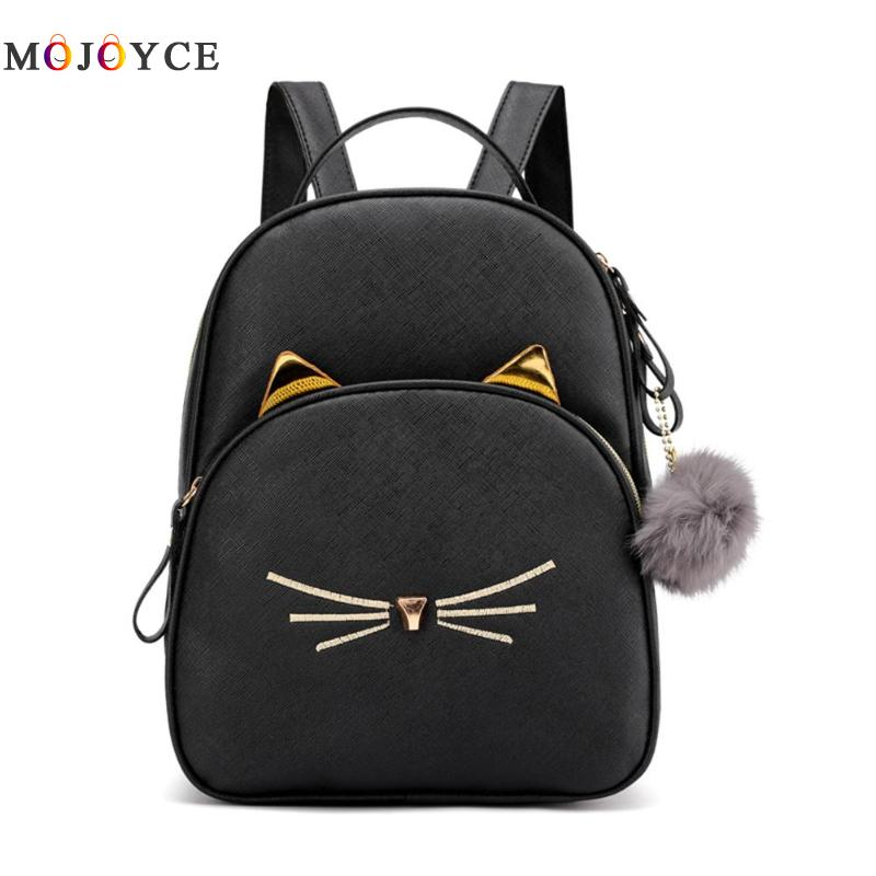 Teenagers Girl PU Leather School Bagpack Cartoon Cat Square Satchel Light Women Backpack