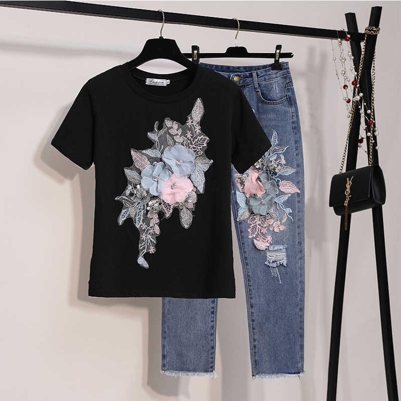 2019 ฤดูร้อนใหม่กางเกงยีนส์สตรีชุดเย็บปักถักร้อย 3d ดอกไม้แขนสั้นเสื้อด้านบน + กางเกง Denim สาวนักเรียน 2 ชิ้นชุด